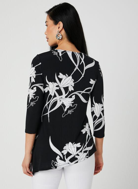 Asymmetric Floral Print Tunic, Black