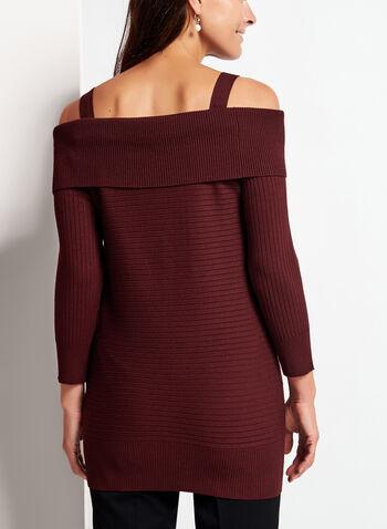 Pull tricot à épaules dénudées et zips dorés, Brun, hi-res