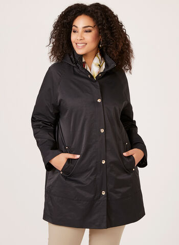 A-line Rain Coat, Black, hi-res