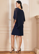 Pearl Detail Poncho Dress, Blue