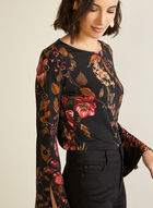 Floral Flare Sleeve Blouse, Black