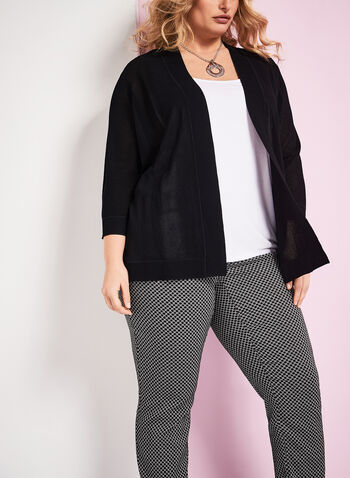 Mesh Knit Open Front Cardigan , , hi-res
