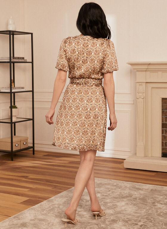 Paisley Print Dress, Beige