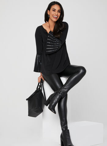 Studded Bell Sleeve Blouse, Black, hi-res