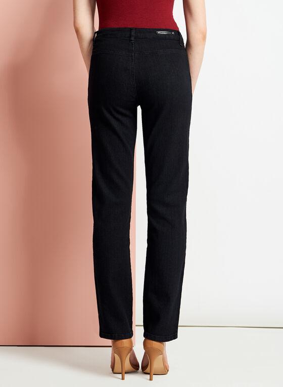 Simon Chang - Jean à jambe droite coupe signature, Noir, hi-res