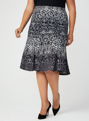 Abstract Print Gored Knit Skirt, Grey, hi-res