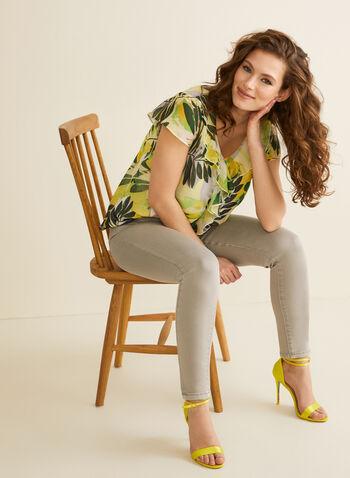 Jeans à jambe étroite et fentes , Gris,  jeans, jambe étroite, longueur cheville, coton, poches, printemps été 2020