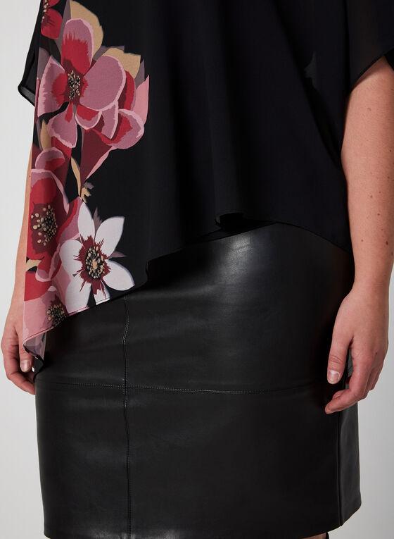 Blouse poncho en mousseline fleurie, Noir, hi-res