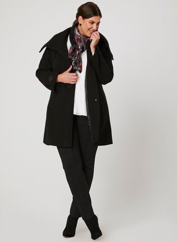 Faux Wool Envelope Collar Coat, Black, hi-res