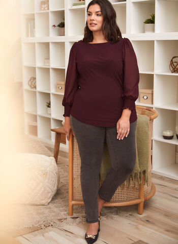 Chiffon Sleeve Top, Purple,  top, blouse, chiffon, long sleeves, boat neck, smocked, buttons, fall winter 2021