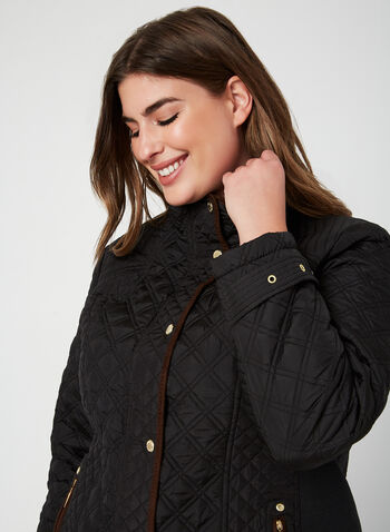 Weatherproof - Quilted Coat, Black, hi-res,  fall winter 2019, quilted coat, long sleeves