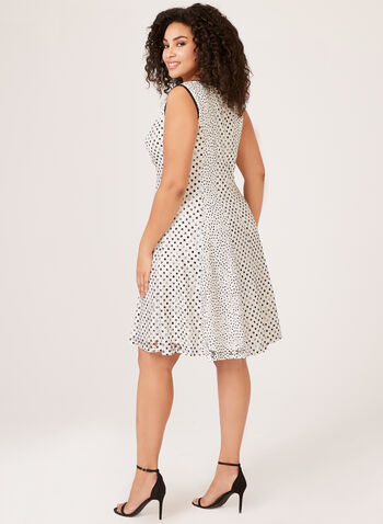 Sleeveless Polka Dot Lace Dress, White, hi-res