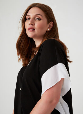 Short Sleeve Poncho Top, Black,  canada, short sleeves, colour block, square, poncho, blouse, stretch, scoop neck, fall 2019, winter 2019