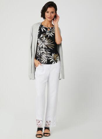 Tropical Print Jersey Top, Black, hi-res,  short sleeves, metallic detail, scoop neck, spring 2019, summer 2019
