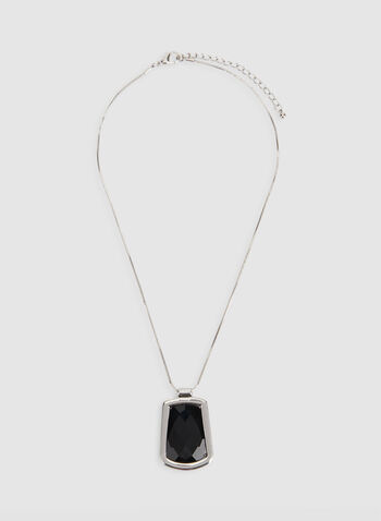 Short Geometric Pendant Necklace, Black, hi-res,  short necklace