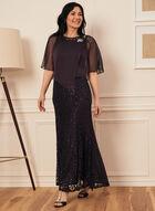 Sequin & Rhinestone Poncho Dress, Purple