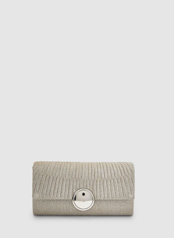 Pleated Flapover Clutch, Silver, hi-res,  glitter, spring 2019