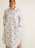 Chemise de nuit en flanelle à motif chats, Gris