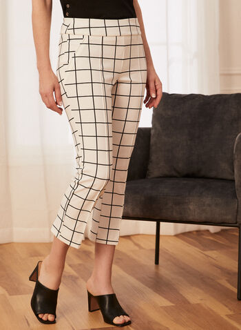 Capri tartan à jambe étroite, Blanc,  printemps été 2021, capri, capris, pantalon, bas, carreaux, carreauté, tartan, motif, imprimé, enfiler, jambe étroite, ajusté, plissé, plis