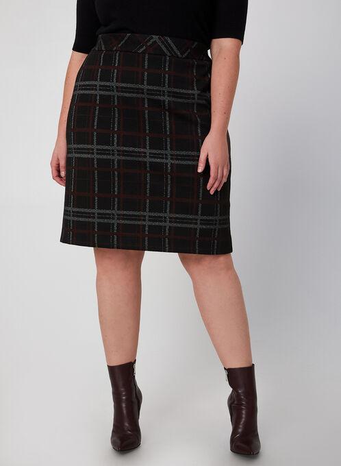 Plaid Pencil Skirt, Black, hi-res
