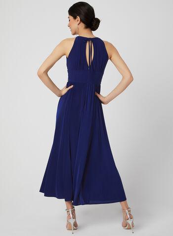 Robe plissée à taille brodée, Bleu,  sans manches, maxi, robe de soirée, printemps 2019, billes, perles, ornement