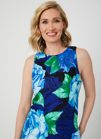 Sleeveless Floral Print Shift Dress, Blue, hi-res