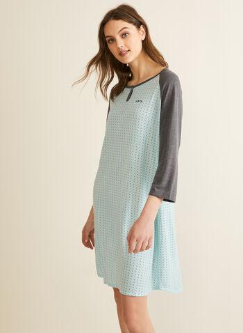 Comfort & Co. - Contrast Nightshirt, Blue,  spring summer 2020, pyjama, nightshirt, nightgown, 3/4 sleeves, dot print