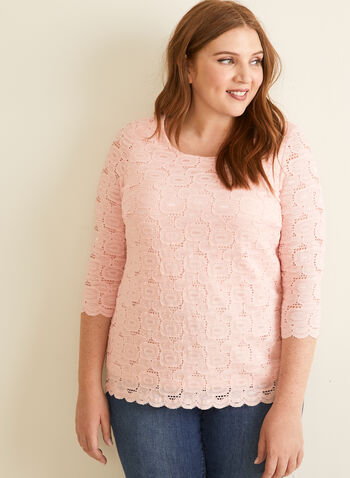 3/4 Sleeve Crochet Lace Top, Pink,  top, blouse, crochet, lace, jersey, lined, scoop neck, 3/4 sleeves, scalloped