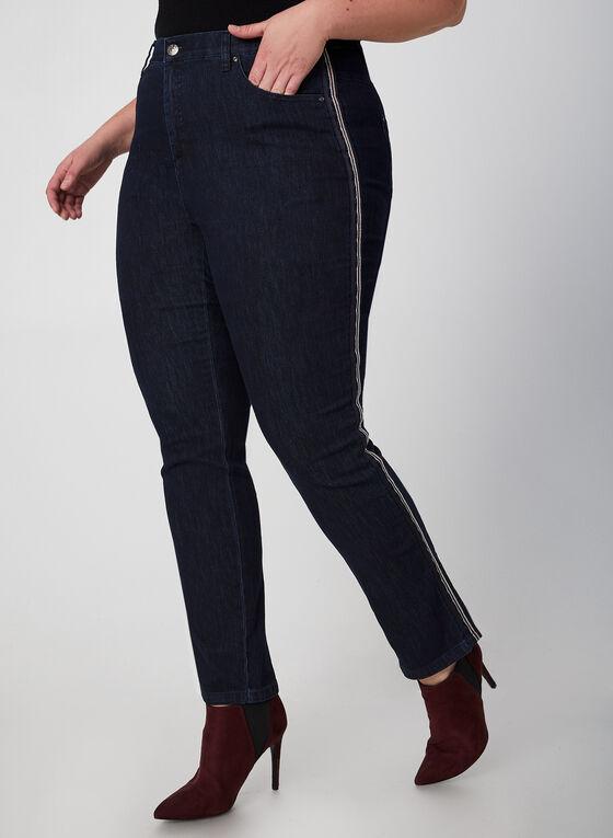 Simon Chang - Jeans à bandes contrastantes, Bleu