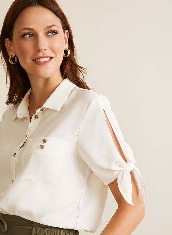 Short Sleeve Button Down Blouse, Off White