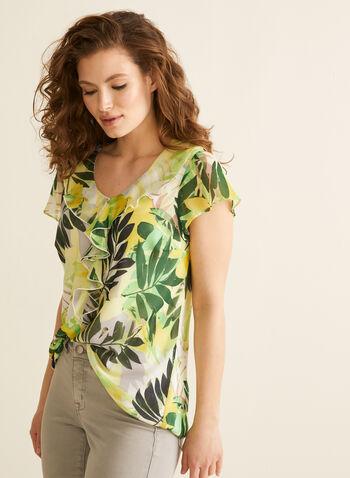 Blouse volantée motif feuilles de palmier, Vert,  blouse, volants, manches courtes, mousseline, feuilles de palmier, printemps été 2020