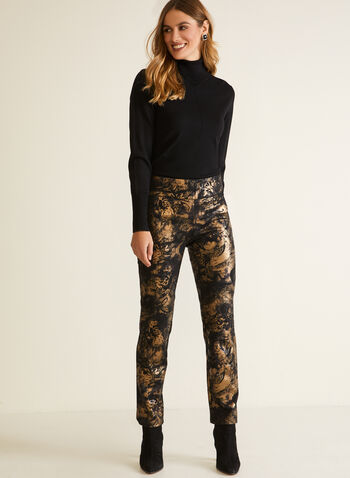 Metallic Pattern Pull-On Pants, Black,  pants, slim leg, metallic, pull-on, fall winter 2020
