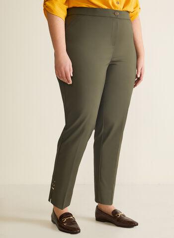 Pantalon coupe cité à jambe droite, Vert,  pantalon, coupe cité, jambe droite, détails métallisés, longueur cheville, automne hiver 2019