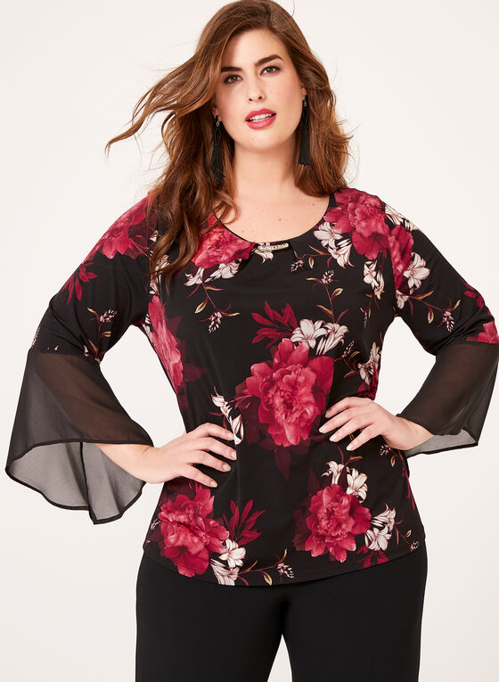 Angel Sleeve Floral Print Jersey Top, Black, hi-res
