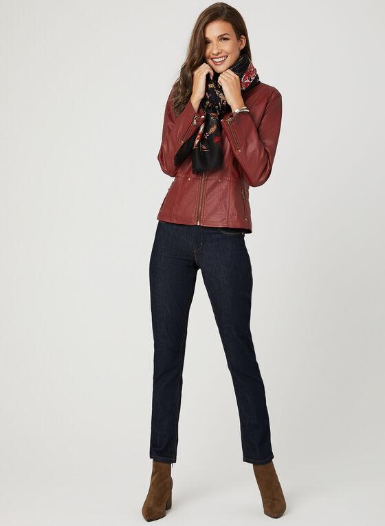 Ness - Veste en similicuir à poches zippées, Rouge, hi-res