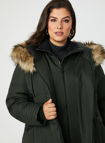 Faux Leather Trim Quilted Coat, Green, hi-res