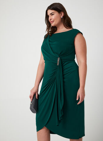 Sleeveless Jersey Midi Dress, Green, hi-res,  dress, midi, jersey, sleeveless, broach, ruffles, faux wrap, fall 2019, winter 2019