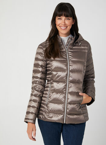 Packable Quilted Down Coat, Brown,  down coat, packable coat