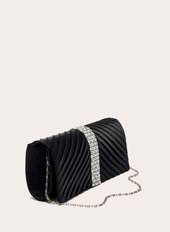 Gem Detail Pleated Satin Clutch, Black, hi-res