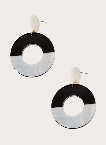 Two Tone Dangle Earrings, Black, hi-res