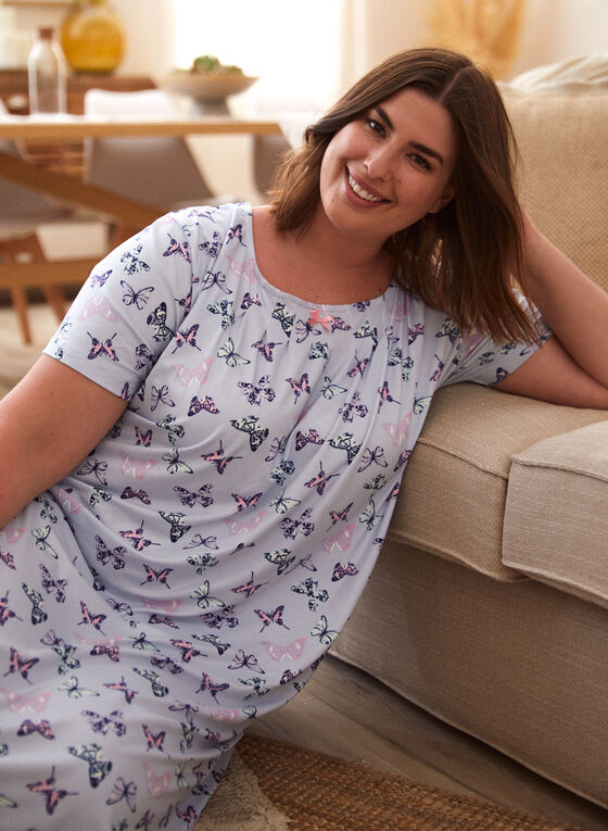 Butterfly Print Nightgown, Blue