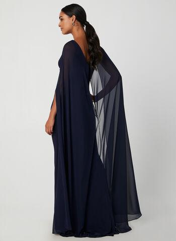 Robe drapée à cape en mousseline, Bleu, hi-res,  automne hiver 2019, robe, robe de soirée, robe longue, jersey, cape, mousseline, sans manches, drapé