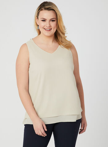 Sleeveless V Neck Crepe Blouse, Off White, hi-res