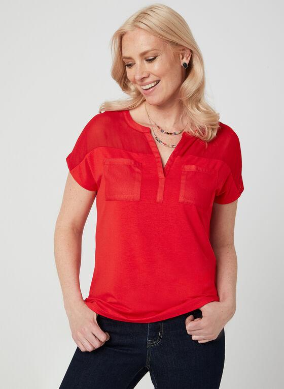 T-shirt bi-matière, Rouge