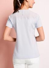 T-shirt coton brodé avec brillants, Bleu, hi-res