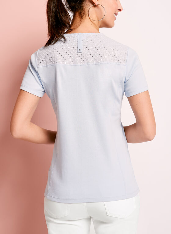 Eyelet Lace Embellished Cotton T-Shirt, Blue, hi-res