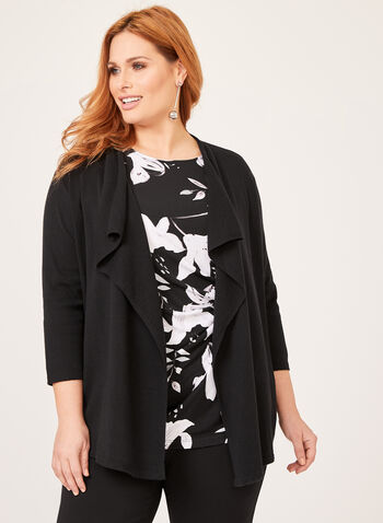 Cascading Collar Knit Cardigan, Black, hi-res