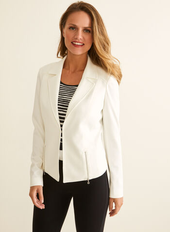 Topstitch Blazer, Off White,  blazer, jacket, notch collar, topstitching, zipper, long sleeve, spring summer 2020