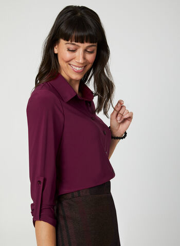 ¾ Sleeve Button-Down Top, Red, hi-res,  top, shirt, button down, 3/4 sleeves, fall 2019, winter 2019