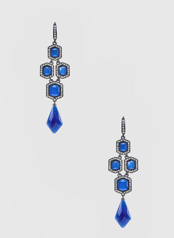 Rhinestone & Crystal Embellished Earrings, Blue,  earrings, dangle earrings, crystals, rhinestone earrings, fall 2019, winter 2019